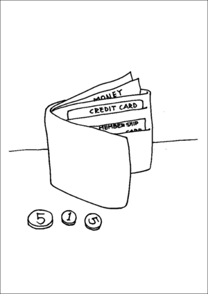 Wallet With Money coloring page