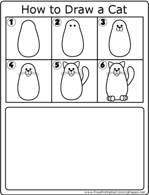 How to Draw Basic Cat coloring page