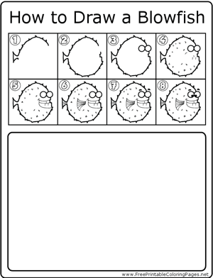 How to Draw Blowfish coloring page