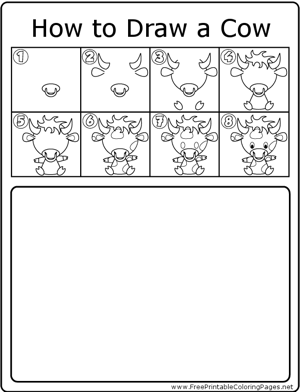 How to Draw Cow coloring page