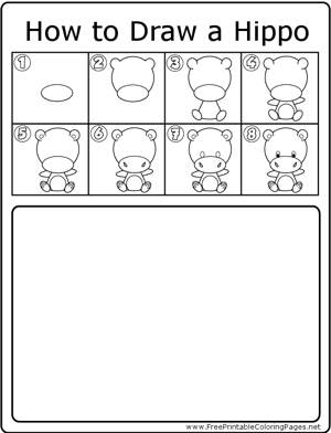 How to Draw Cute Hippo coloring page