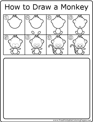 How to Draw Cute Monkey coloring page