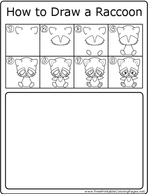 How to Draw Cute Raccoon coloring page