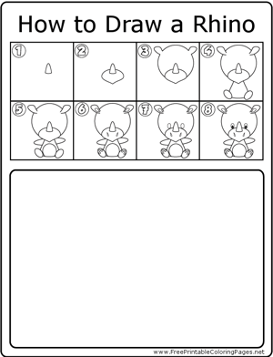 How to Draw Cute Rhino coloring page