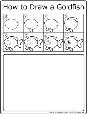 How to Draw Goldfish coloring page