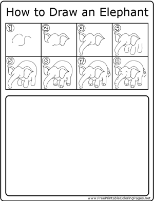 How to Draw Happy Elephant coloring page
