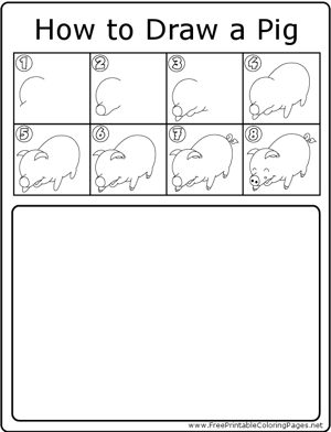 How to Draw Happy Pig coloring page