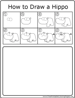 How to Draw Hippo coloring page