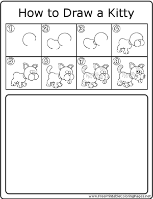 How to Draw Kitty coloring page