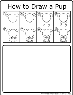 How to Draw Pup coloring page