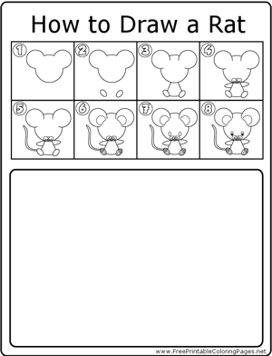 How to Draw Rat coloring page