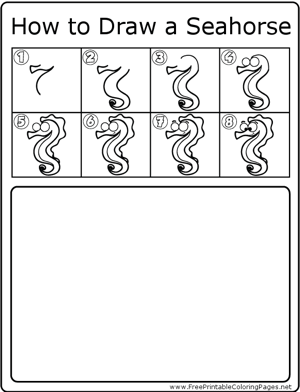 How to Draw Seahorse coloring page