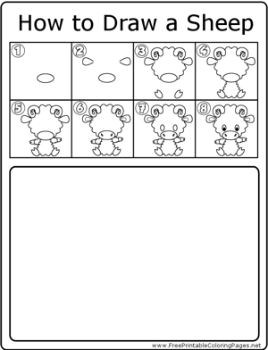 How to Draw Sheep coloring page