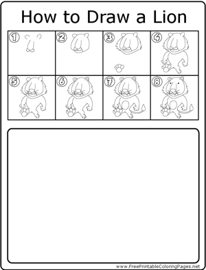 How to Draw Standing Lion coloring page