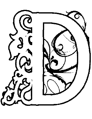 Illuminated-D Coloring Page