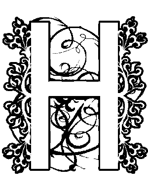 Illuminated-H Coloring Page