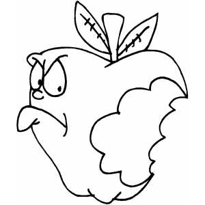 Angry Bitten Apple Coloring Page