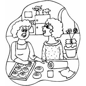 Baking Cinnamon Rolls coloring page