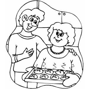 Baking Cookies coloring page