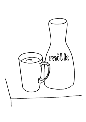 Bottle Of Milk And Cup coloring page