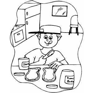 Boy Making Sandwich With Jam coloring page