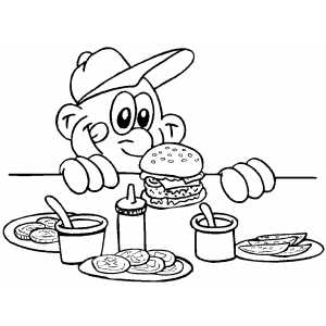 Boy Preparing To Eat Hamburger coloring page