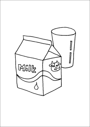 Carton Of Milk And Glass coloring page