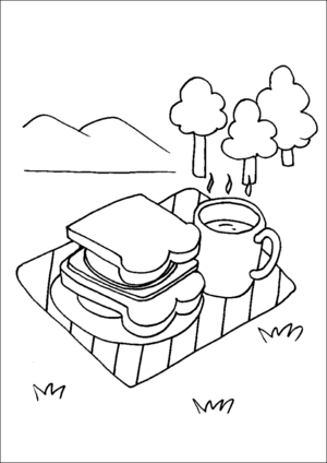 Coffee And Sandwich On A Tray coloring page