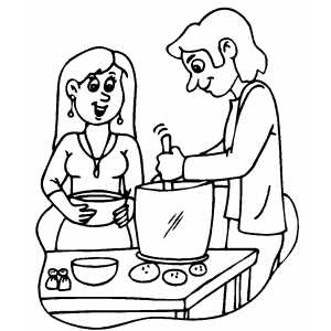 Cooking Dinner From Potatos coloring page