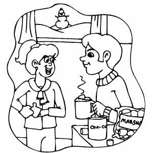 Couple Drinking Chocolate coloring page