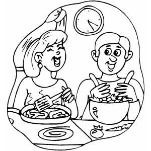 Couple Laughing And Cooking Dinner coloring page