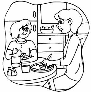 Eating Diner Coloring Page