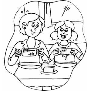 Family Eating Corn Coloring Page