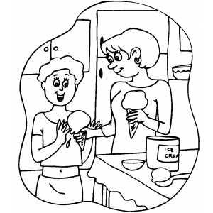 Family Eating Ice Cream coloring page