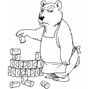 Grocer Bear coloring page