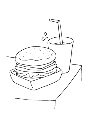 Hamburger And Soda coloring page