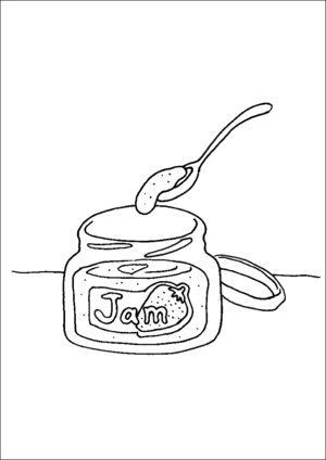 Jar Of Jam And Spoon coloring page