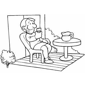 Man Drinking Lemonade On Verandah coloring page