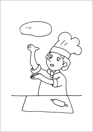 Pizza Maker Throwing Pizza Dough coloring page
