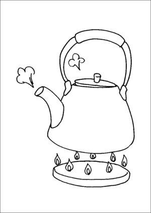 Teapot On Stove coloring page