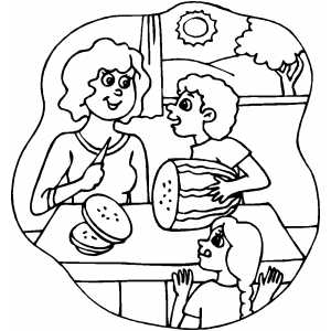 Woman Slicing Watermelon Coloring Page