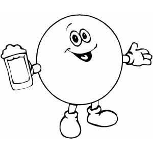 Yellow Dot With Beer coloring page