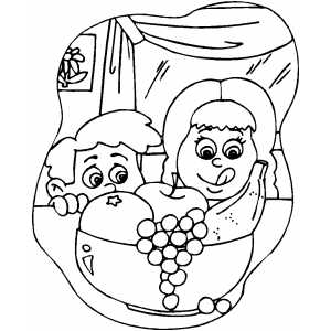 Yummy Fruit Snack coloring page