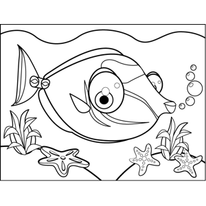 Big-Eyed Tropical Fish coloring page