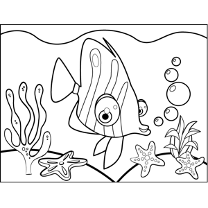 Bug-Eyed Tropical Fish coloring page