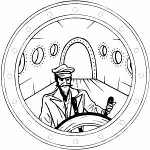 Captain At Wheel coloring page