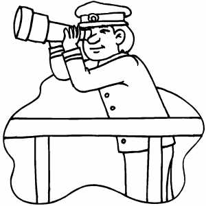 Captain Watching Telescope coloring page
