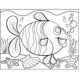 Cheerful Striped Fish coloring page