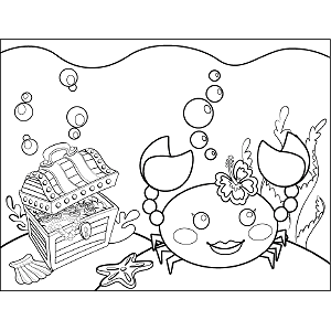 Crab with Treasure Chest coloring page