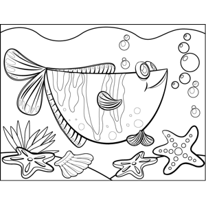Curious Fish coloring page